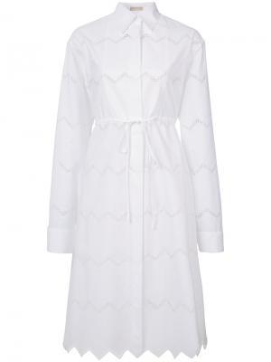 Платье с открытой вышивкой Alaïa. Цвет: белый