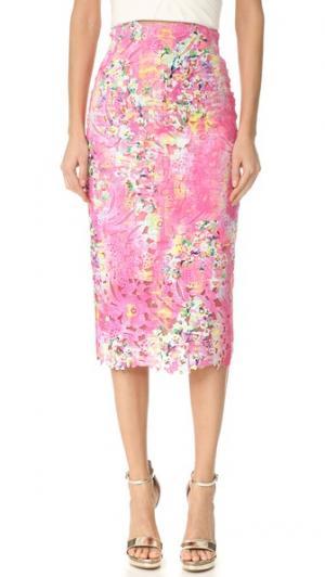 Кружевная юбка-карандаш Monique Lhuillier. Цвет: розовый мульти