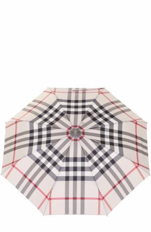 Складной зонт в клетку Burberry. Цвет: серый