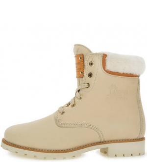 Утепленные ботинки из натуральной кожи Panama Jack. Цвет: молочный