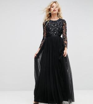 Needle & Thread Декорированное платье с длинными рукавами. Цвет: черный