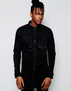 D.I.E Черная удлиненная джинсовая рубашка классического кроя . Workman. Цвет: черный