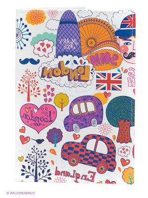 Обложка для паспорта Праздничный Лондон Mitya Veselkov. Цвет: белый, красный