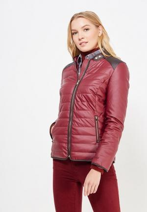 Куртка кожаная Laura Jo. Цвет: бордовый