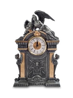 Часы в стиле барокко Ангел и его дитя Veronese. Цвет: серебристый