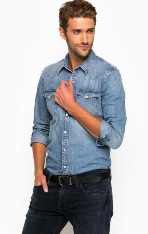 Джинсовая рубашка с прямым кроем Levi's®. Цвет: синий