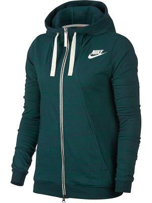 Толстовка W NSW GYM CLC HOODIE FZ 2 Nike. Цвет: зеленый