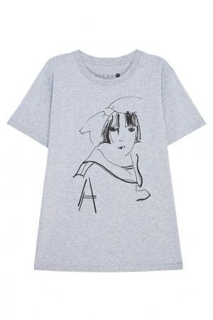 Хлопковая футболка Aizel. Цвет: серый