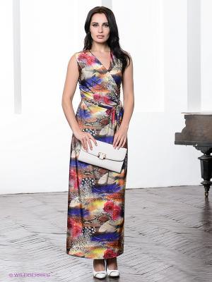 Платье МадаМ Т. Цвет: индиго, красный, желтый