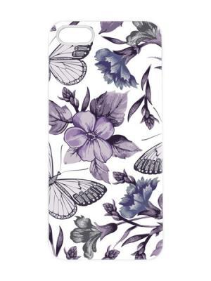 Чехол для iPhone 5/5s Фиолетовые бабочки Арт. IP5-079 Chocopony. Цвет: белый, черный