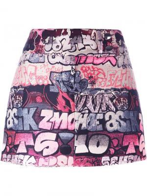 Мини-юбка с графическим принтом Giamba. Цвет: розовый и фиолетовый