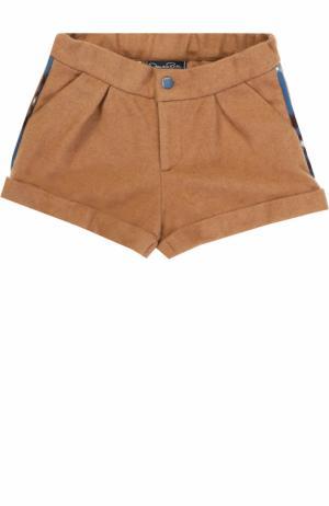 Шерстяные шорты с отворотами и ламапасами Oscar de la Renta. Цвет: бежевый