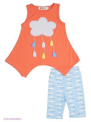Комплект одежды для девочек Kidly. Цвет: голубой, персиковый