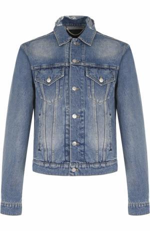 Джинсовая куртка на пуговицах с декоративными потертостями воротнике Balenciaga. Цвет: синий