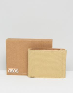 ASOS Бумажник из парусины и искусственной кожи. Цвет: бежевый