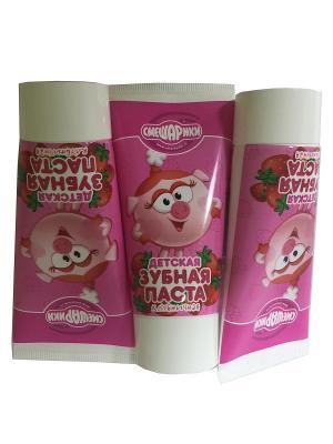 Детская зубная паста  Клубничная ,3 шт Смешарики. Цвет: розовый