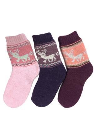 Носки шерстяные, 3 пары HOBBY LINE. Цвет: розовый, фиолетовый