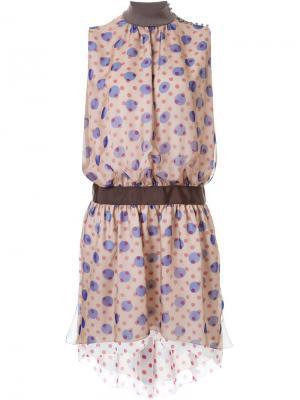 Платье с принтом без рукавов Kolor. Цвет: коричневый