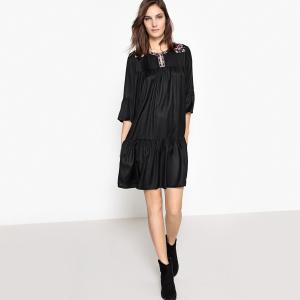 Платье однотонное расклешенного и короткого покроя с рукавами 3/4 La Redoute Collections. Цвет: черный