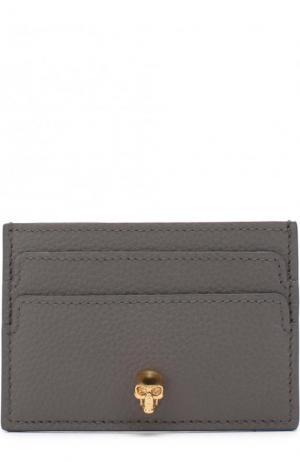 Кожаный футляр для кредитных карт с черепом Alexander McQueen. Цвет: серый
