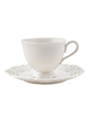 Набор чашка с блюдцем Rishelie Elff Ceramics. Цвет: белый