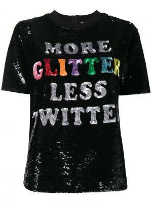 Топ с пайетками More Glitter Ashish. Цвет: чёрный