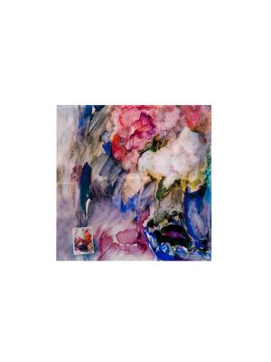 Платок Флокс в синей вазе, 90х90 см ArtNiva. Цвет: синий, малиновый, оранжевый