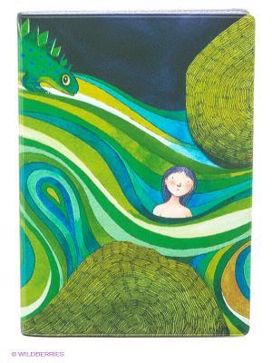 Обложка для автодокументов Девочка в зеленых волнах Mitya Veselkov. Цвет: зеленый