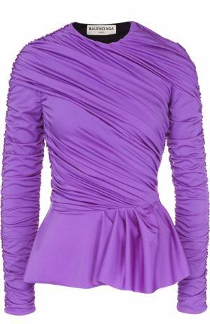 Топ с драпировкой и длинными рукавами Balenciaga. Цвет: фиолетовый