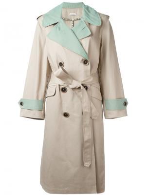 Двубортное пальто Natasha Zinko. Цвет: телесный