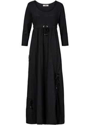 Трикотажное платье макси (черный) bonprix. Цвет: черный