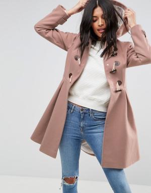 ASOS Пальто-дафлкот. Цвет: розовый