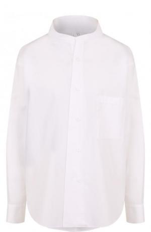 Хлопковая блуза свободного кроя с воротником-стойкой Yohji Yamamoto. Цвет: белый