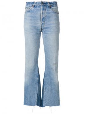 Укороченные брюки клеш с завышенной талией Re/Done. Цвет: синий
