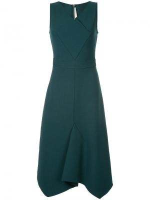 Платье с закрытым лацканом Dion Lee. Цвет: зелёный