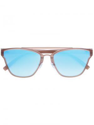 Солнцезащитные очки в оправе квадратной формы Le Specs. Цвет: коричневый