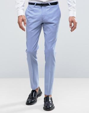 Noose & Monkey Супероблегающие брюки Wedding. Цвет: синий