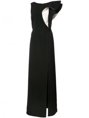 Платье с крупными оборками на плече Halston Heritage. Цвет: чёрный