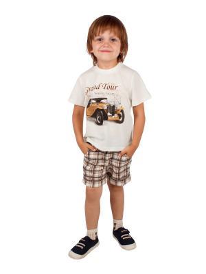 Футболка, шорты, коллекция Автошоу Апрель. Цвет: молочный, коричневый