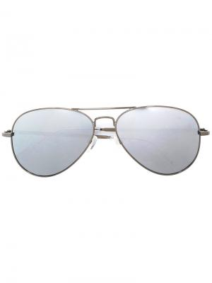 Солнцезащитные очки-авиаторы с бриллиантами Christian Koban. Цвет: металлический