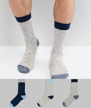 ASOS 3 пары носков в подарочной упаковке (темно-синий/серый крапинку) ASO. Цвет: мульти