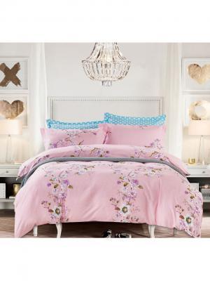 Постельное белье, евро 1st Home. Цвет: голубой, белый, розовый