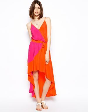 Шелковое платье колор блок со шлейфом  Annie S.Y.L.K. Цвет: dalia/ tango