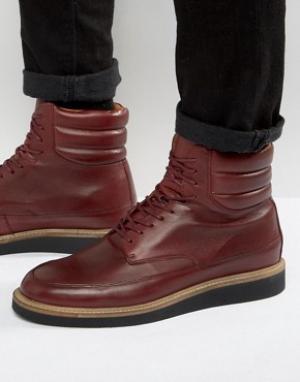 Zign Кожаные ботинки на шнуровке. Цвет: красный
