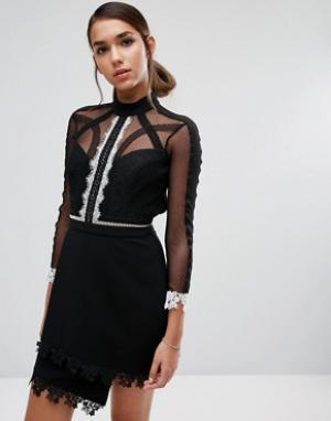 Three Floor Платье мини с контрастным кружевом и рукавами 3/4. Цвет: черный