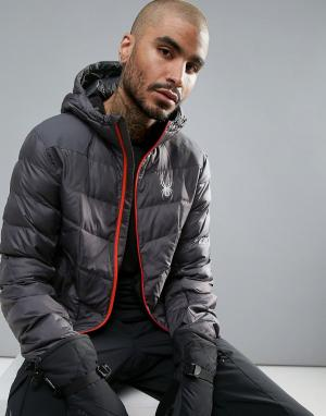 Spyder Куртка с капюшоном Geared Ski. Цвет: серый