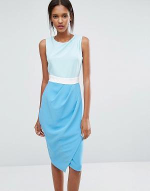 Closet London Трехцветное платье с драпированной юбкой. Цвет: мульти
