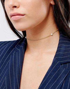 DesignB London Ожерелье-чокер с искусственным жемчугом. Цвет: золотой