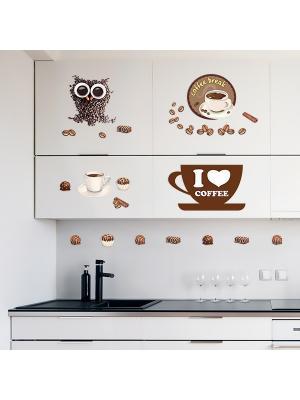 Набор наклеек Кофе, 14 шт DECORETTO. Цвет: коричневый, бежевый, белый, черный