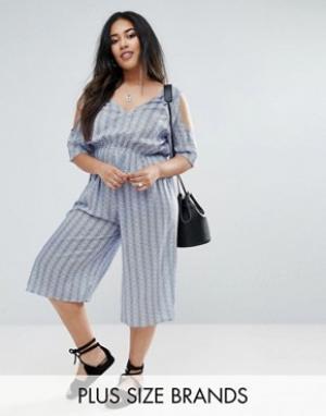 Diya Комбинезон с открытыми плечами и широкими штанинами. Цвет: синий